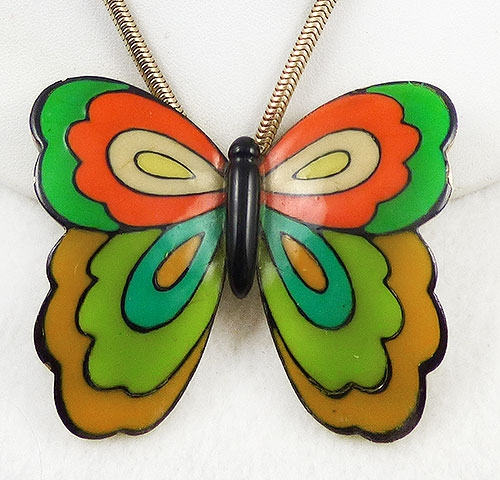 Newly Added Eisenberg Enamel Butterfly Pendant Necklace