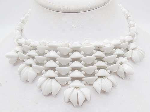 End of Year Sale! 30-50% OFF - West Germany White Glass Bead Necklace