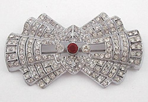 Brooches - Czechoslovakian Rhinestone Bow Brooch