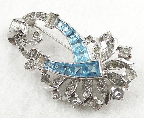 Brooches - Mazer Aqua Rhinestone Ribbon Brooch