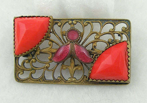Brooches - Czech Red Glass Brooch