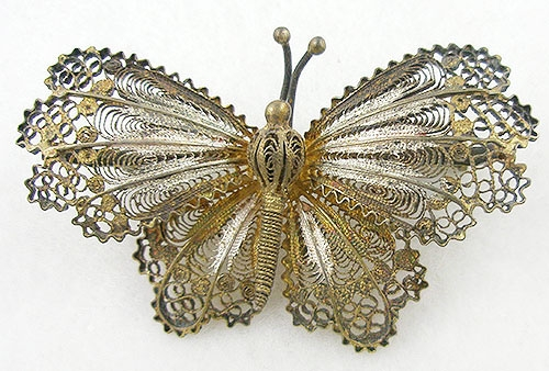 Figural Jewelry - Butterflies & Bugs - Gilded Silver Filigree Butterfly Brooch