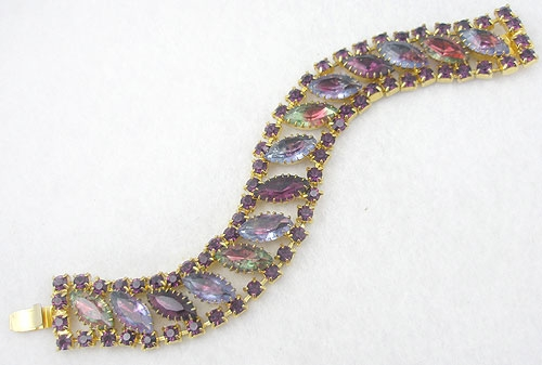Newly Added DeLizza & Elster Rainbow Navette Rhinestone Bracelet