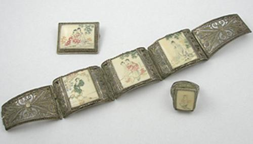 Sets & Parures - Chinese Silver Filigree Scrimshaw Bracelet Set