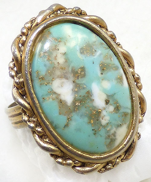Newly Added Turquoise Plastic Cabochon Costume Ring