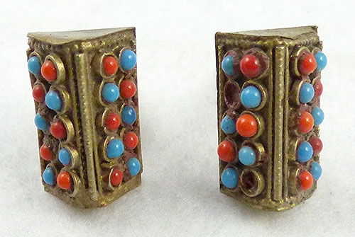 Men's Jewelry - Vintage Tribal Turquoise and Coral Cufflinks