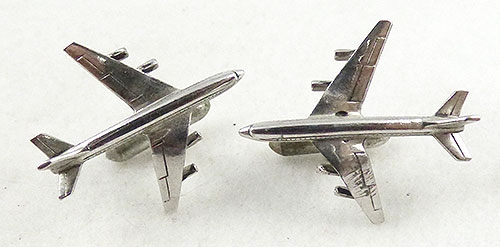 Men's Jewelry - Swank Silver Jet Airplane Cufflinks