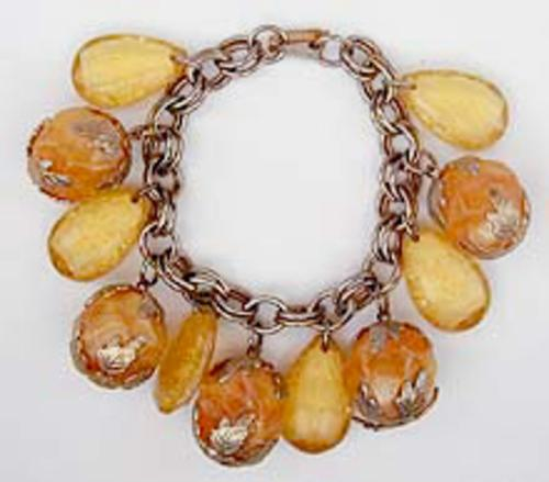 Newly Added Lemon and Orange Lucite Charm Bracelet