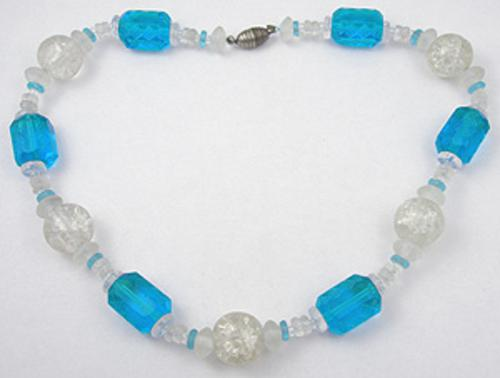 France - French Art Deco Teal Glass Bead Necklace