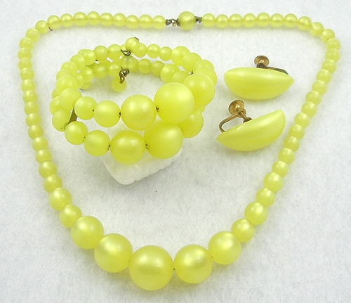 Summer Hot Colors Jewelry - Coro Yellow Lucite Moonglow Parure