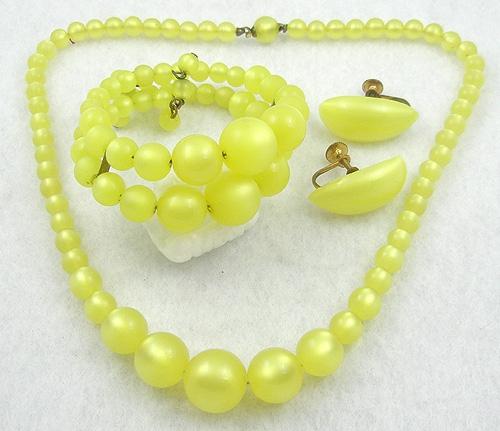 Sets & Parures - Coro Yellow Lucite Moonglow Parure