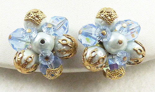 Crystal Bead Jewelry - Vendome Blue Pearl and Crystal Earrings
