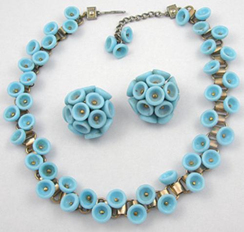 Sets & Parures - Aqua Glass Bead Necklace Set