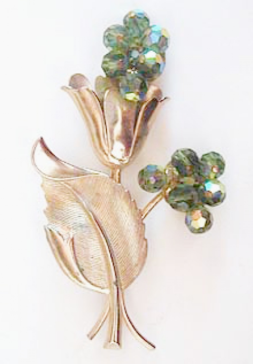 Crystal Bead Jewelry - Green Crystal Bead Floral Brooch