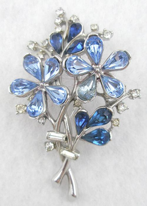 Brooches - Trifari Blue Teardrop Floral Brooch