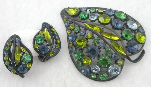 Sets & Parures - Japanned Blue & Green Rhinestone Leaf Set