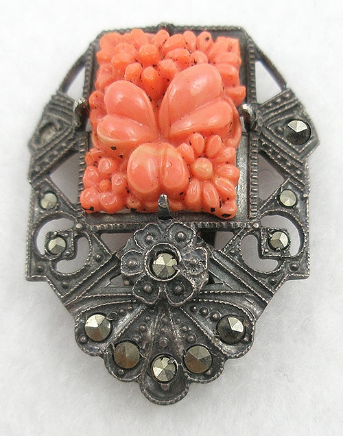 Art Deco - Sterling Coral Molded Glass Dress Clip