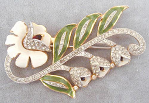 Newly Added Coro Enameled Rhinestone Floral Brooch