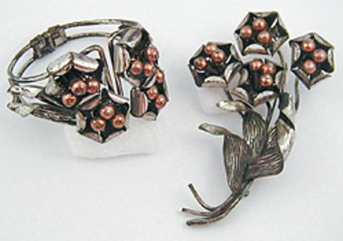 Sets & Parures - Silver and Copper Mixed Metal Floral Brooch & Bracelet