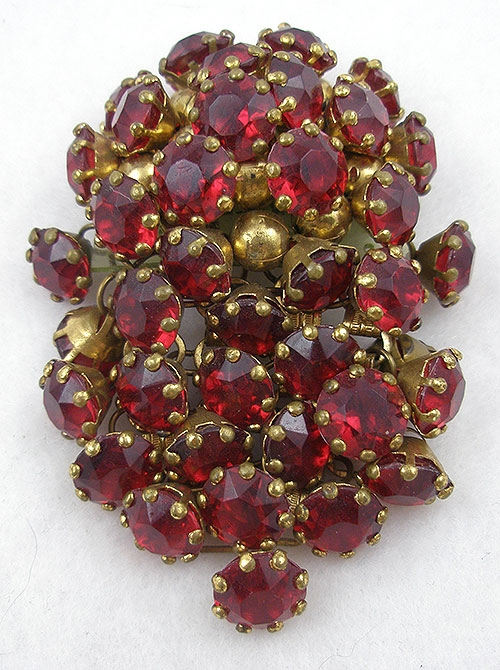 Brooches - Miriam Haskell Red Rhinestone Brooch