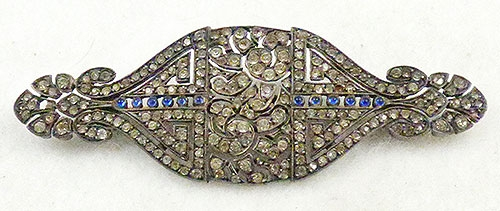 Art Deco - French Art Deco Silver Paste Brooch