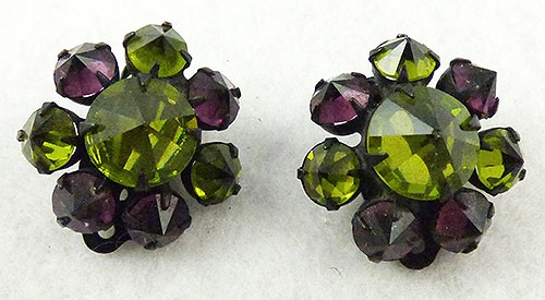 Austria - Austrian Amethyst Peridot Rhinestone Earrings