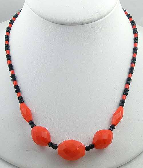 On Sale! 40% OFF sale Items - Orange and Black Glass Bead Necklace