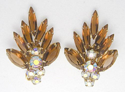 Newly Added Tara Dark Topaz Rhinestone Earrings