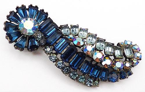 Newly Added Blue Rhinestone Ribbon Brooch