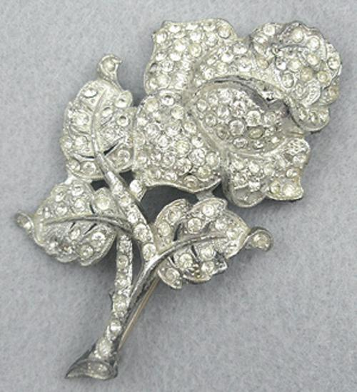 Brooches - 1930's Pot Metal Rhinestone Rose Brooch