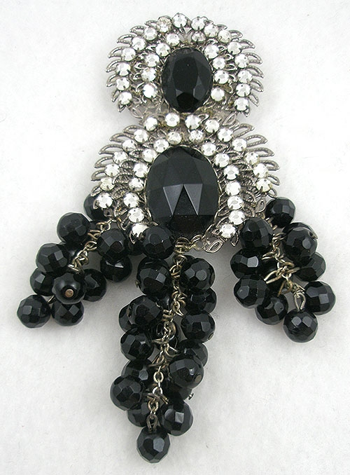 Brooches - Miriam Haskell Black Bead Brooch