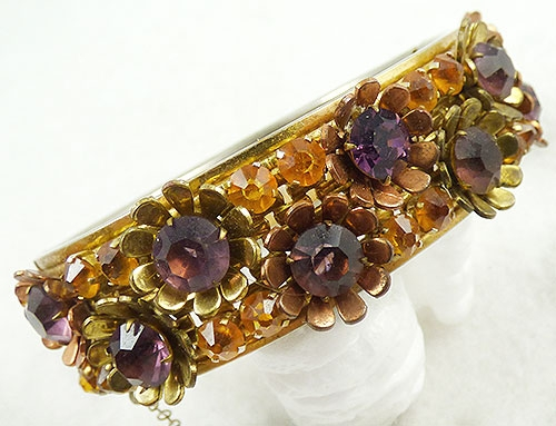 Newly Added Amethyst Flowers Topaz Rhinestone Bracelet