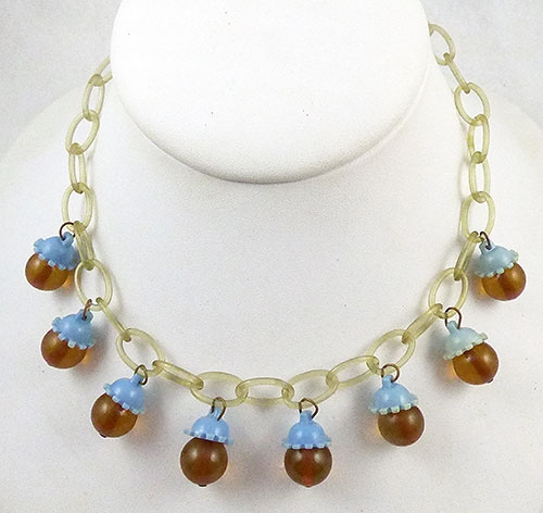 Bakelite, Celluloid, Galalith - Bakelite and Celluloid Dangles Necklace