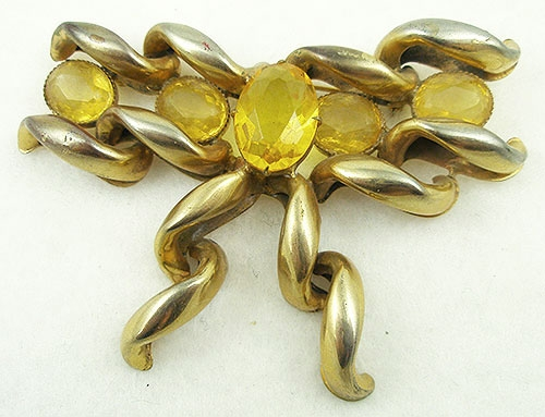 Newly Added Topaz Glass Ribbon Bow Brooch
