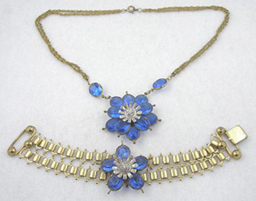 Florals - Blue Glass Flowers Necklace & Bracelet Demi Parure