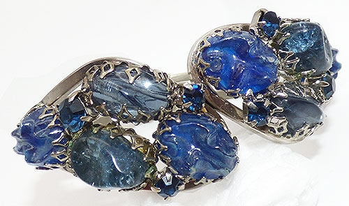 Newly Added Blue Stone Hinged Clamper Bracelet