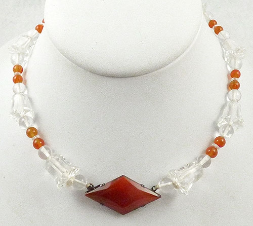 Crystal Bead Jewelry - Art Deco Crystal Bead Carnelian Glass Necklace