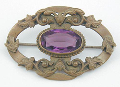 Art Nouveau - Art Nouveau Amethyst Glass Brooch