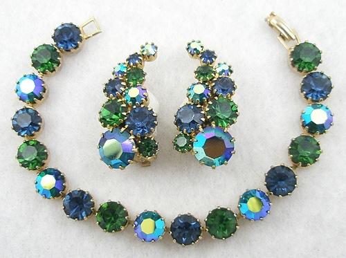 Misc. Signed G-L - Karu Arke Blue & Green Rhinestone Bracelet Set