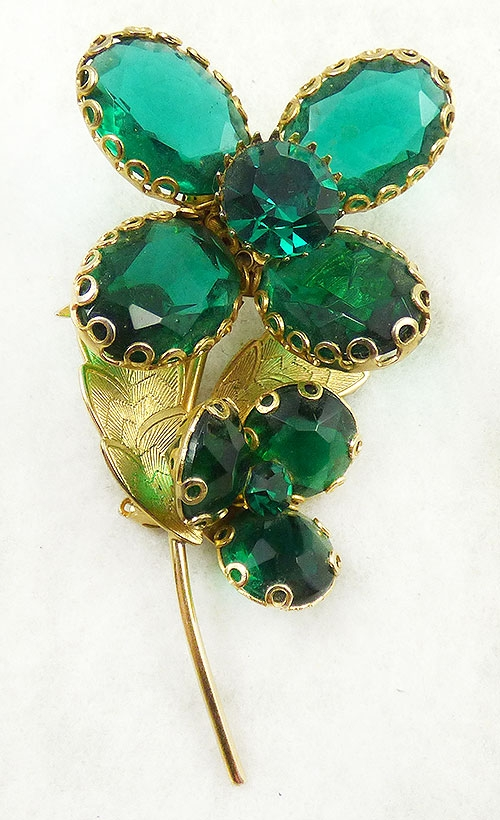 Florals - Green Glass Flower Brooch