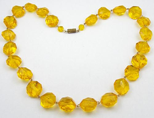 Necklaces - Golden Plastic Crystal Bead Necklace