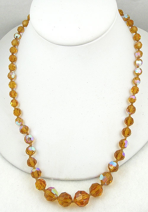 Crystal Bead Jewelry - Topaz Aurora Crystal Bead Necklace