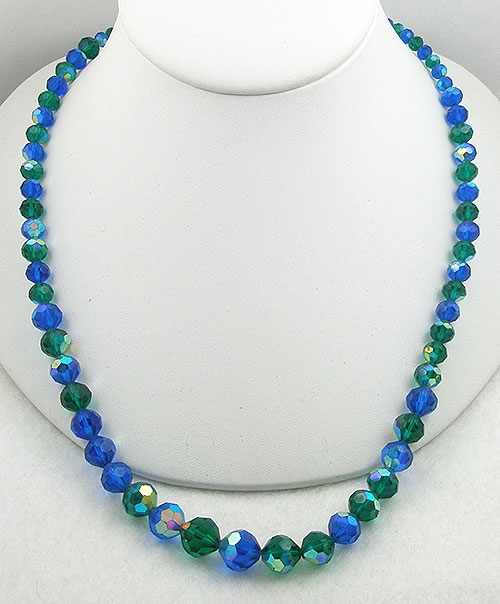 Crystal Bead Jewelry - West Germany Blue & Green Crystal Necklace
