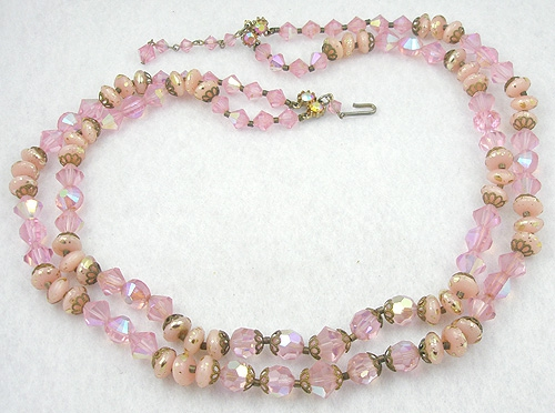 Crystal Bead Jewelry - Pink Crystal and Confetti Glass Bead Necklace