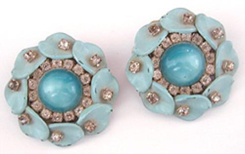 Newly Added Aqua Moonglow & Rhinestone Earrings