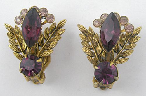 Earrings - Amethyst Rhinestone Golden Leaves Earrings