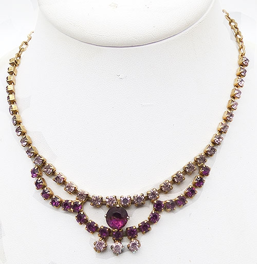 Newly Added Amethyst Rhinestone Necklace