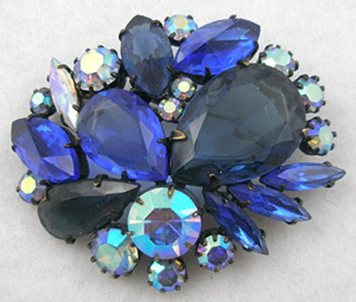 Brooches - Japanned Blue Rhinestone Brooch
