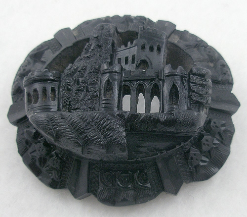 Bone and Horn - Victorian Bog Oak Muckross Abbey Brooch