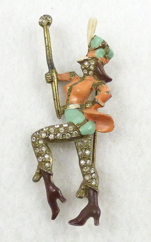 Figural Jewelry - People & Hands - Drum Majorette Brooch